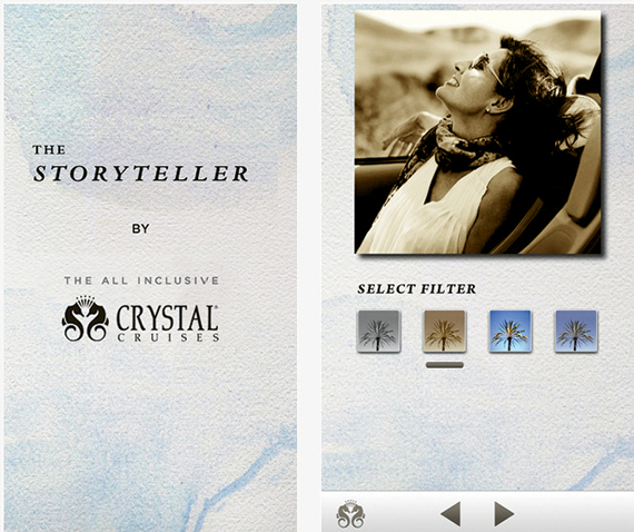 Crystal Cruises has the Storyteller as part of its app, enabling passengers to edit their photos.