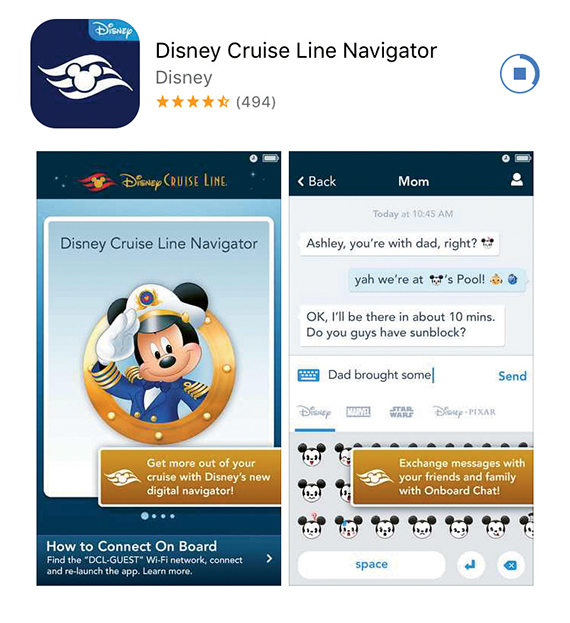 The Disney Navigator is available for use on every ship in the fleet. Among its features is a complimentary chat function. It also identifies where character interactions can be found onboard.