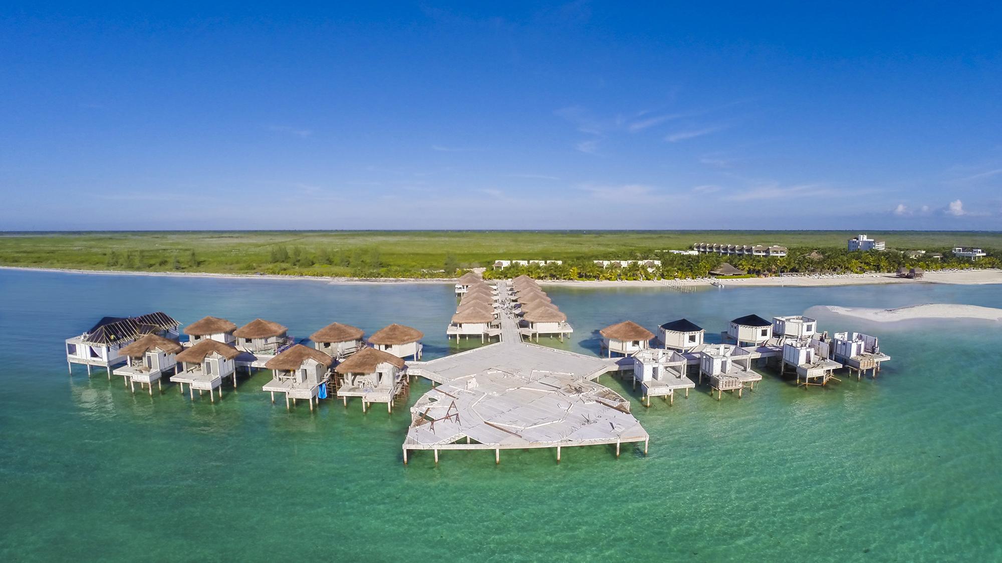 Drone Image Capturing Construction On The Palafitos Overwater Bungalows At El Dorado Maroma A
