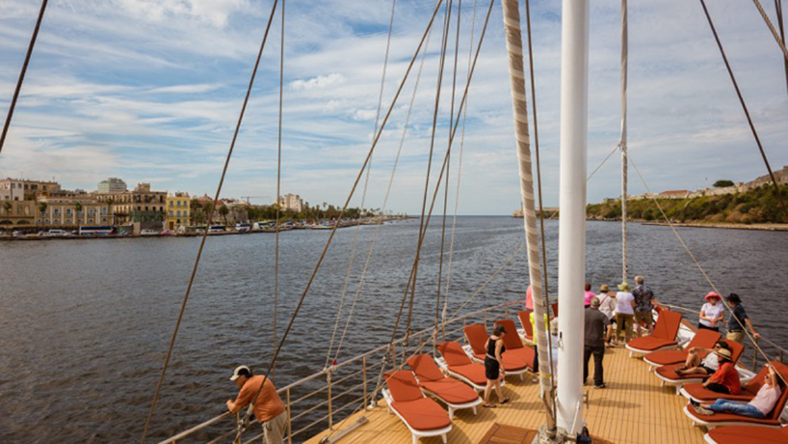 Passengers sail out of Havana aboard the Panorama II on a Group IST people-to-people program.