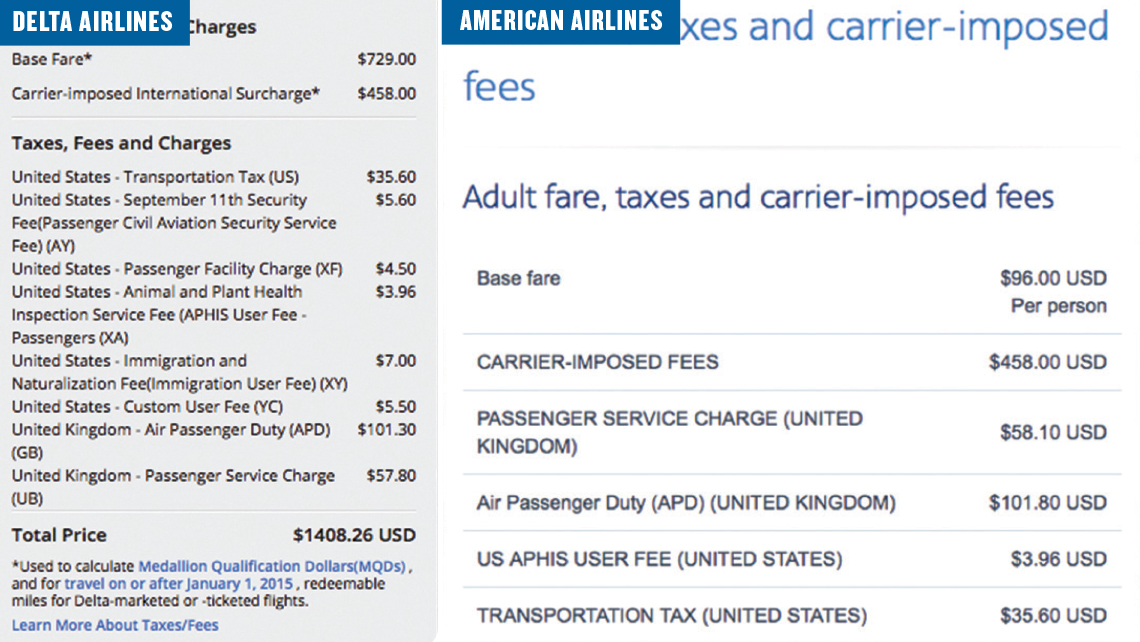 "Delta and American add ""carrier-imposed fees"" to international flights."