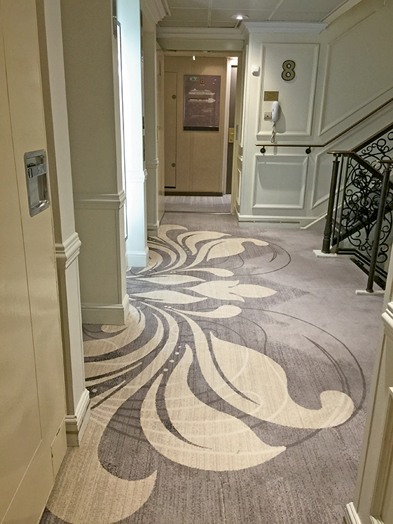 Patterned gray carpet was installed throughout the Azamara Journey during its drydock earlier this year.