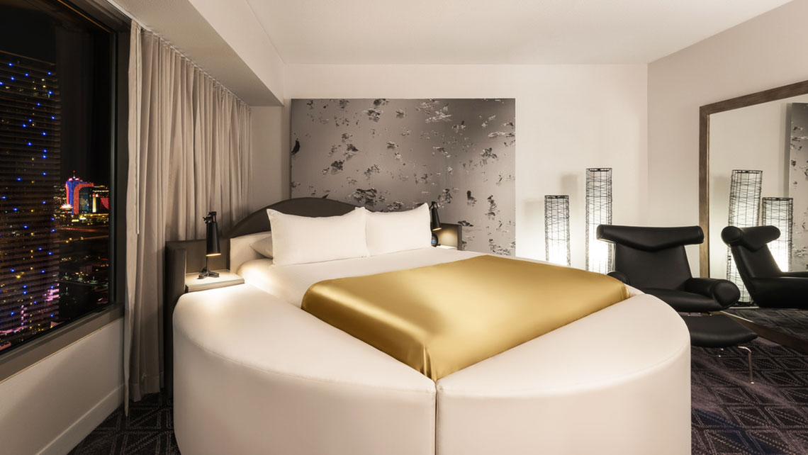 Cute Rendering of a Panorama Suite bedroom at the Planet Hollywood Resort u Casino