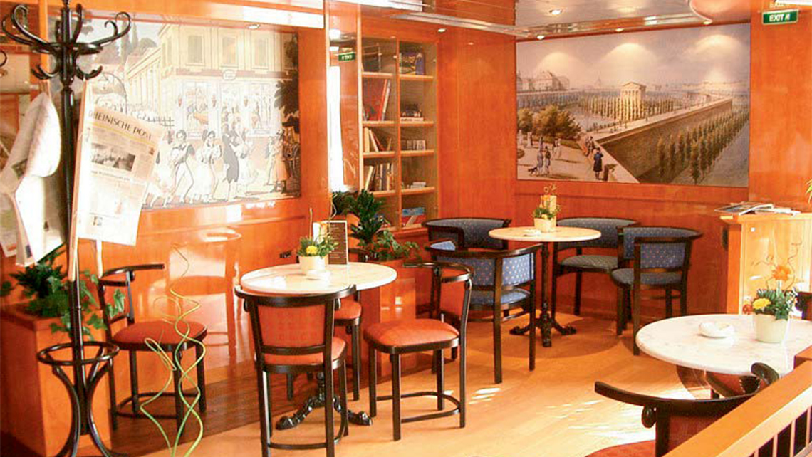The cafe onboard the Belvedere, which is being chartered by Transgender Vacations for a Danube river cruise