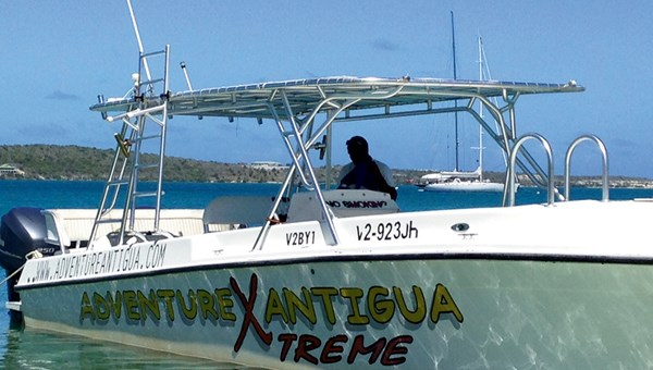 The Extreme Adventure Antigua racing boat, which travels the waters of the Atlantic and Caribbean surrounding Antigua.