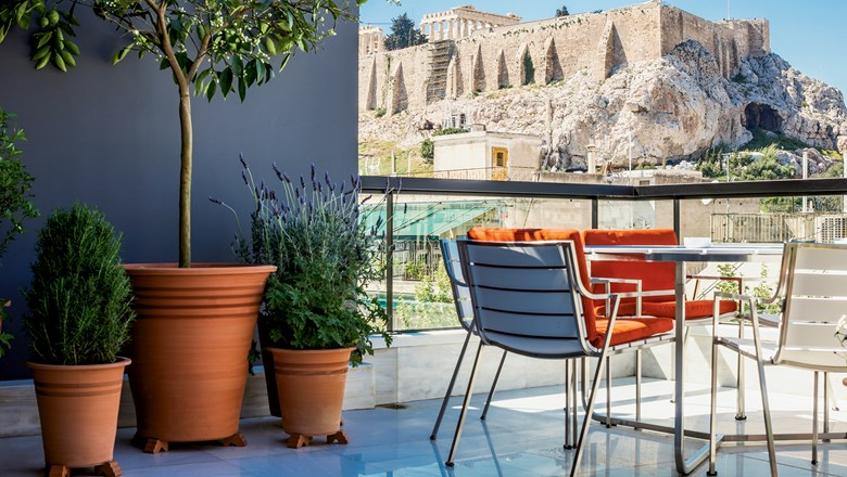 The balcony of the Hellenic Suite in the AthensWas Hotel has a view of the Acropolis.