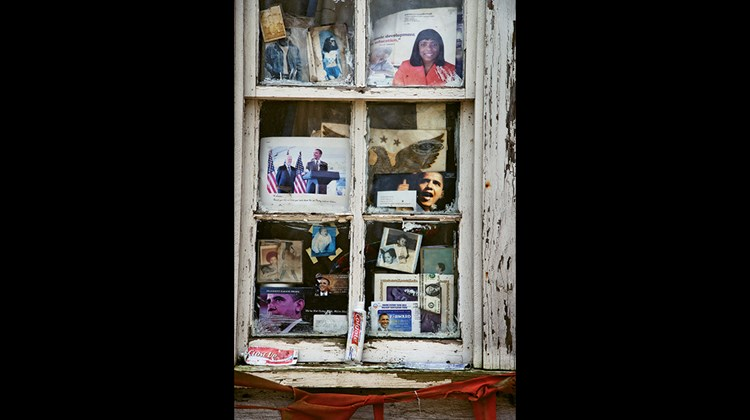 The windows of this old house in Greenville, Miss., are filled with pictures of President Barack Obama.<br /><br /><strong>Photo Credit: Steve McCurry/©Steve McCurry</strong>