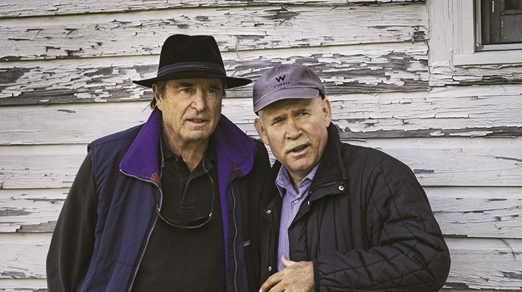 Paul Theroux, left, and Steve McCurry in Allendale, S.C.<br /><br /><strong>Photo Credit: Steve McCurry/©Steve McCurry</strong>