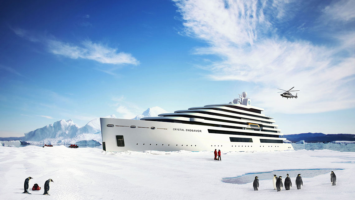 The Crystal Endeavor will be equipped for polar cruising. It will have two helicopters.