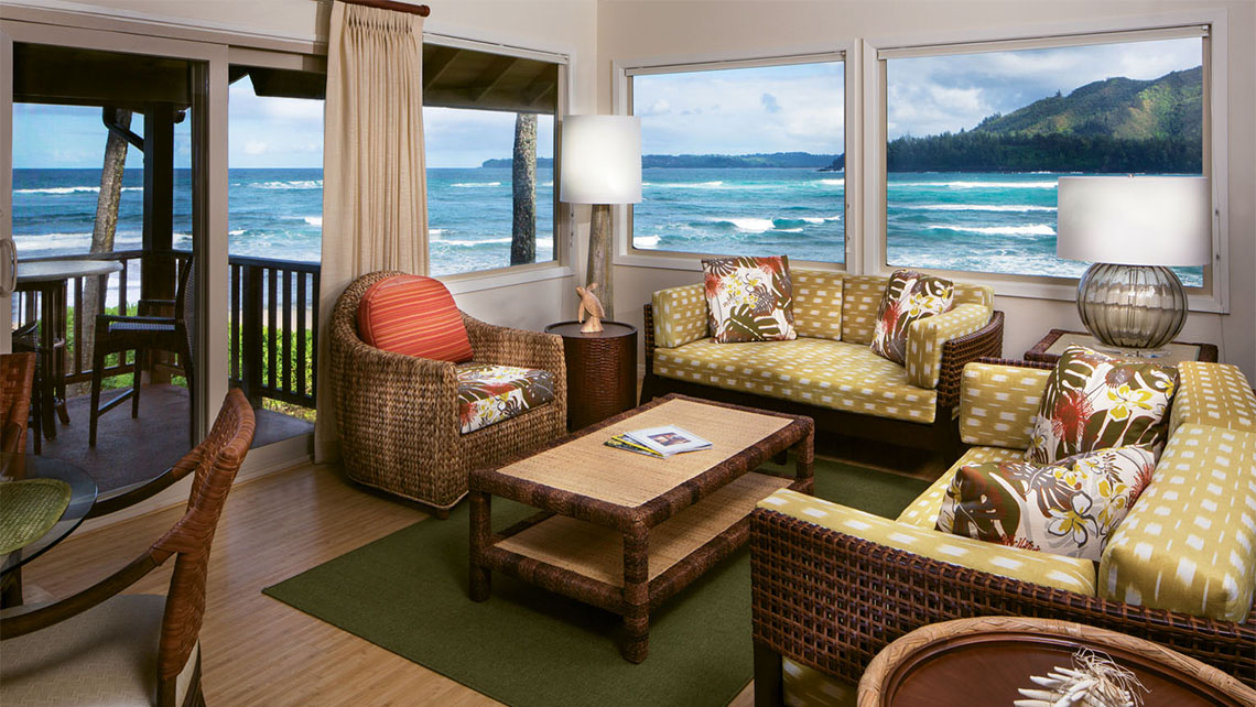 The units at the Hanalei Colony Resort have had all of the furniture replaced, and many have an oceanfront view. Photo Credit: Joe Jenkin