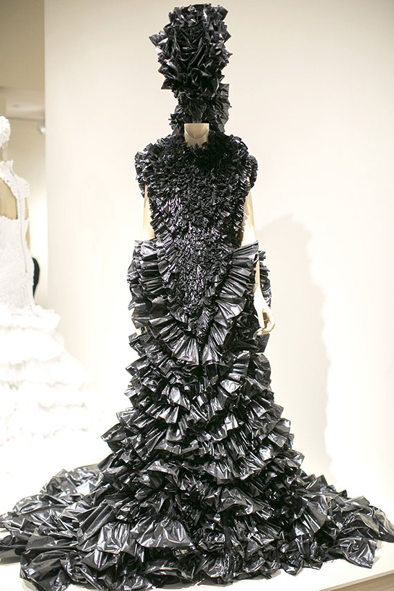 This wedding dress by Koa Johnson, made of garbage bags and other materials, is part of the Honolulu Museum of Art's Hawaii in Design exhibit.