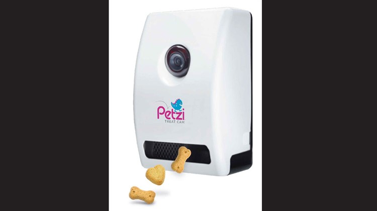 The Petzi Treat Cam has traveling pet lovers -- and their pets -- in mind. The device enables you, distance notwithstanding, to see your pets, talk to them (maybe communicate is a better word) and snap pictures that can be sent to friends and family. But what really makes this cam system unique is its ability to dispense pre-determined treats to your pets remotely by using a smart phone, tablet or any other Internet-enabled device. The camera itself has a wide-angle lens and is equipped for night vision.