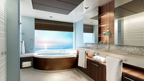 A bathroom in a Concierge suite.