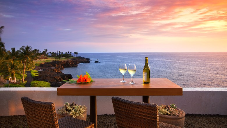 The lanai at the Kaiulu Club Lounge offers stunning views of the Pacific.