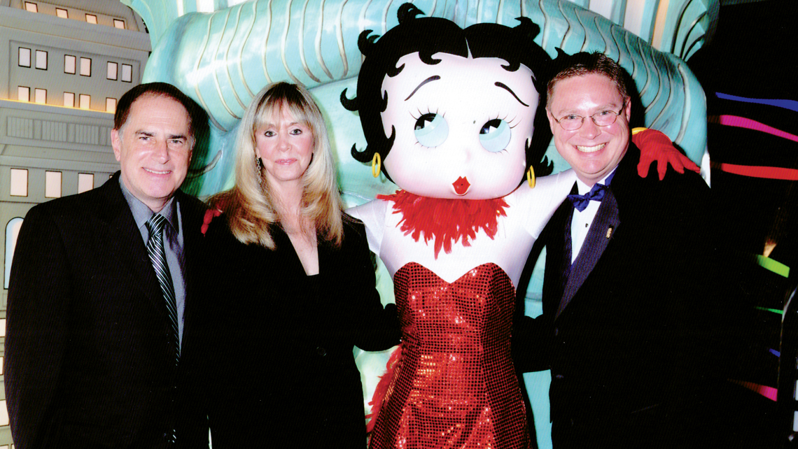 From left, Mark Fleischer, the grandson of Betty Boop creator Max Fleischer; his wife, Susan Fleischer; Betty Boop; and Jason Coleman, who organized the Betty Boop Fan Cruise.