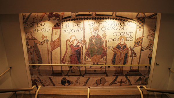 A reproduced segment of the Bayeux Tapestry decorating the stairwells aboard the Viking Sea.