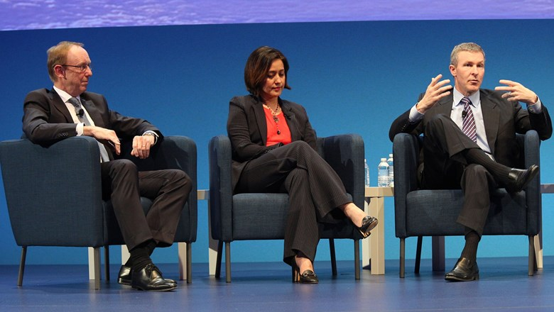 From left, Lufthansa board member Karl Ulrich Garnadt, AirAsia CEO Aireen Omar and American Airlines President Scott Kirby at the WTTC summit.