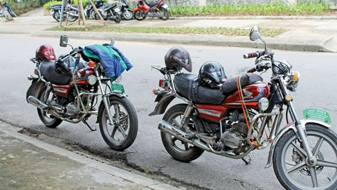 In Hue, Vietnam, sightseeing via motorcycle