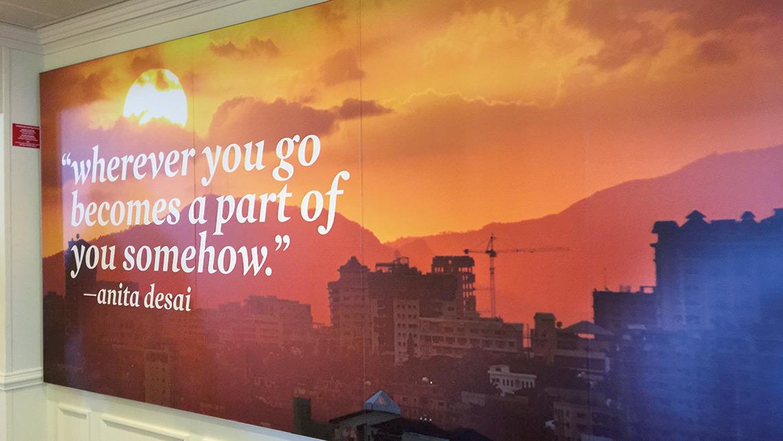 A large photo panel conveys Fathom's inspirational content.