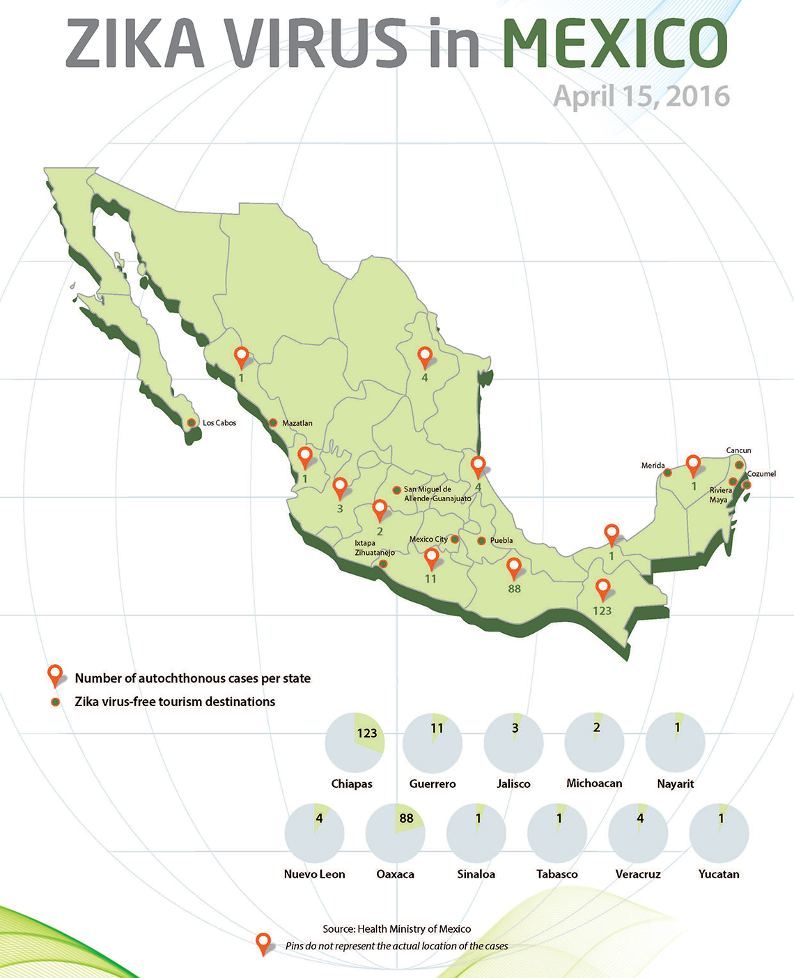 Mexico Updates Map Of Locations Of Zika Cases Travel Weekly - Picture of map of mexico