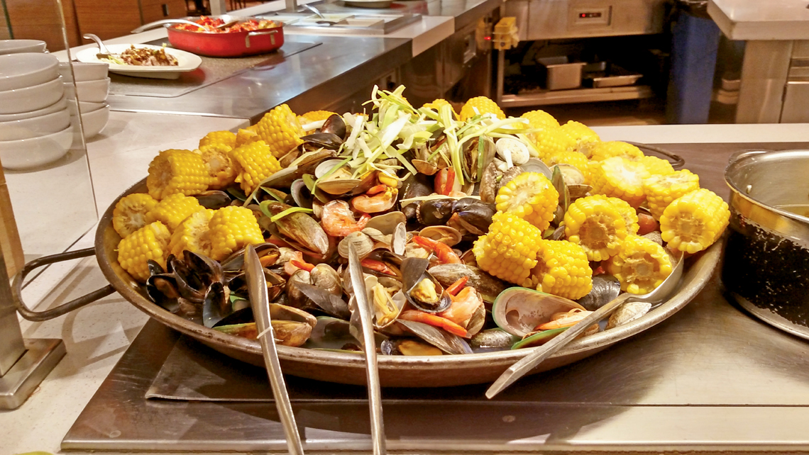 A clambake is one of the options available at the Buffet at Aria. Photo Credit: David Yeskel