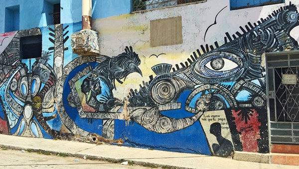 Street art on the edge of the Callejon Hamel community art project in Havana.