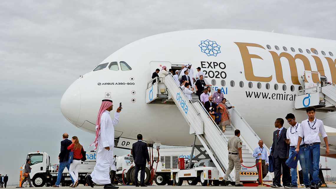The Airbus A380, with a standard passenger capacity of 544, is the largest passenger aircraft currently in the air and the primary four-engine jet still in use for ultralong-haul flights.