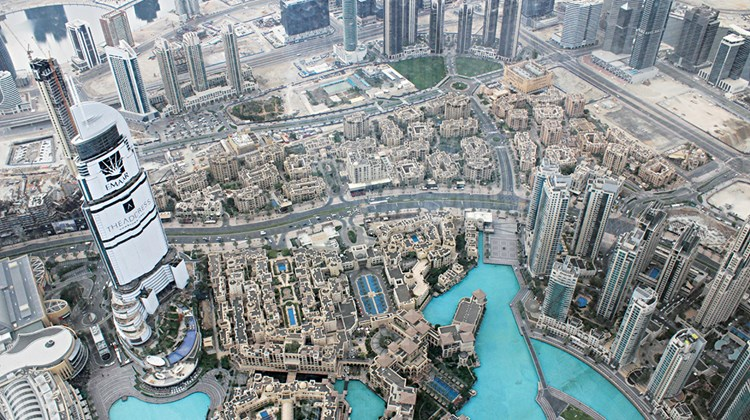 View from the 148th floor of the Burj Khalifa, the world's tallest tower at over 2,700 feet.