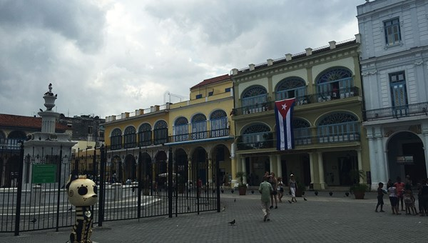 Restored buildings line Plaza Vieja, one of four plazas visited on the walking tour.
