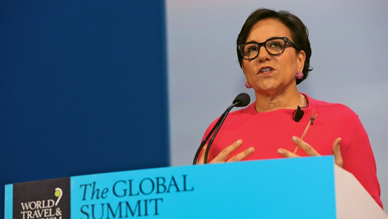 Penny Pritzker at the podium at the WTTC Global Summit in Dallas in April.