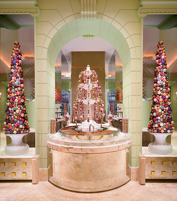 The three-way fountain at the Buffet at Wynn has milk, dark and white chocolate varieties.