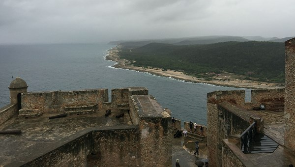 A view over the Caribbean and Santiago Bay from the Morro castles, which guards the mouth of the bay.