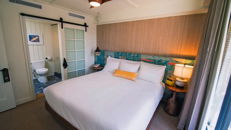 A one-bedroom suite in the Surfjack Hotel & Swim Club in Waikiki.