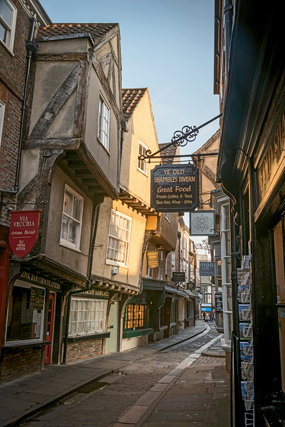 The Shambles in York is a historical street once home to the city's butcher shops.