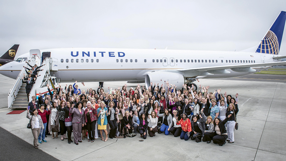 In May, an all-women crew, led by captain Jan Lumbrazo with about 100 female United Airlines employees, took delivery of a Boeing 737 aircraft.