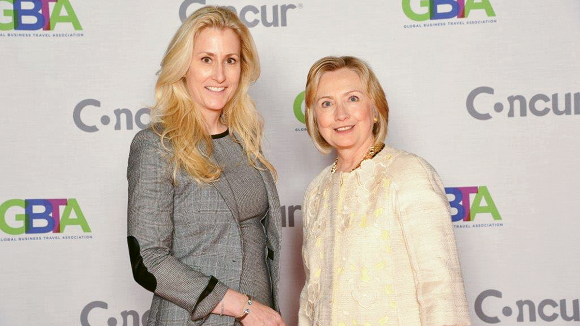 "Michelle ""Mick"" Lee, the founder of Women in Travel, with former secretary of state Hillary Clinton at the Global Business Travel Association conference in 2013."