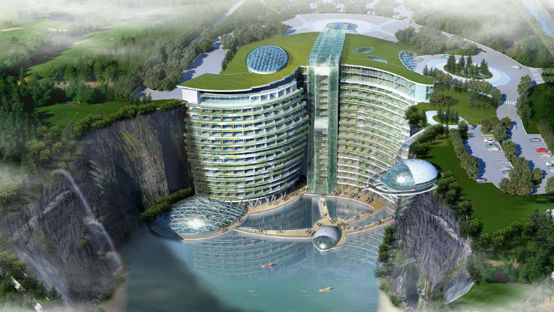 A rendering of the InterContinental Songjiang, a property currently under construction in the Songjiang District of Shanghai in an abandoned quarry.