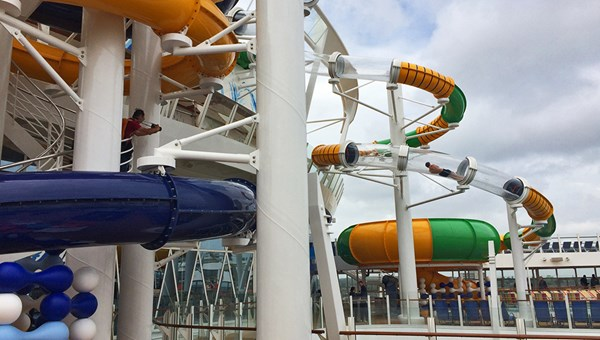 A guest braved the chill for a turn in one of the Perfect Storm waterslides.