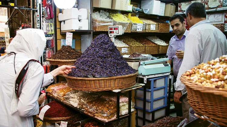 An array of exotic spices awaits in the markets of Tehran.