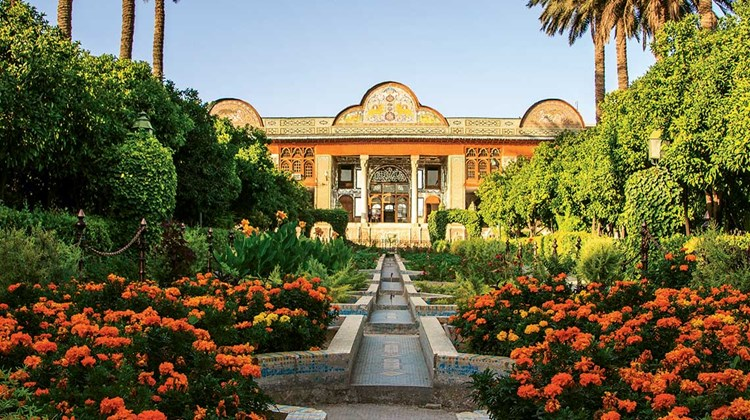 The classical Persian garden, this one in Shiraz, contains the Zoroastrian elements of sky, earth, water and plants.