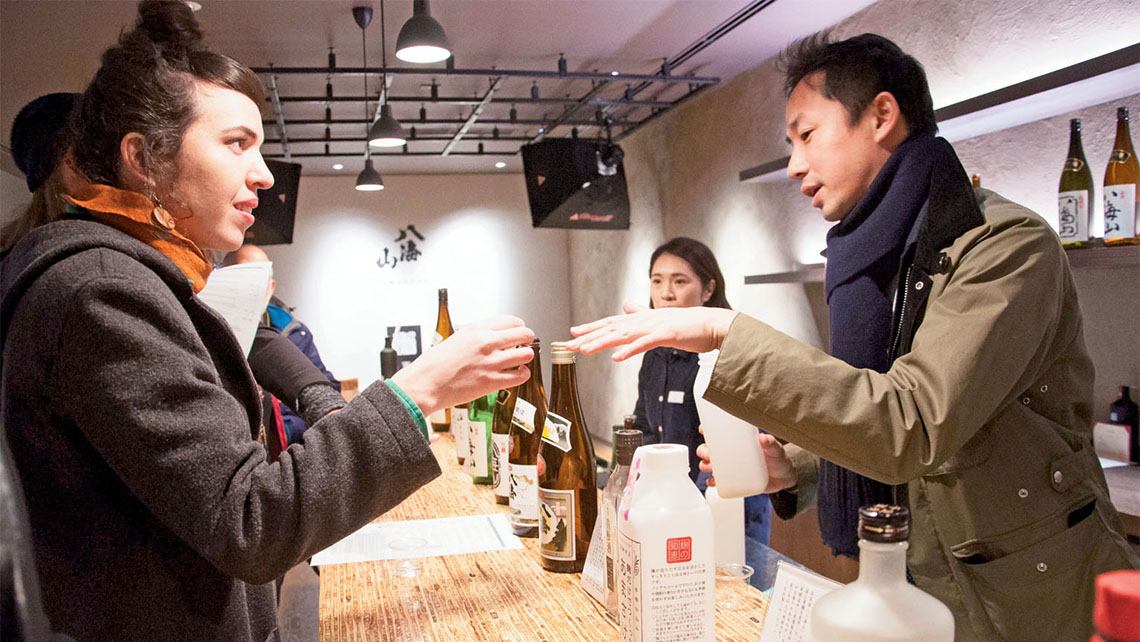 Tasting sake and shochu at Hakkaisan Brewery in Niigata prefecture. Photo Credit: Wyatt Marshall