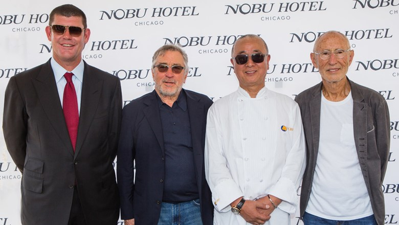 From left, Nobu Hospitality investor James Packer with owners Robert De Niro, Nobu Matsuhisa and Meir Teper at the groundbreaking ceremony for Nobu Chicago.