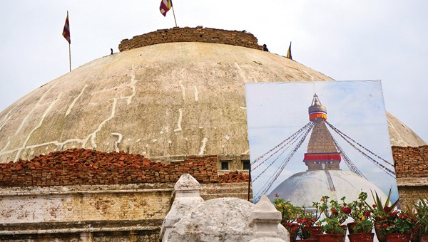 Before and after: In Kathmandu, Nepal, Boudhnath's great stupa is undergoing reconstruction to fix structural damage caused by the April 2015 earthquake.