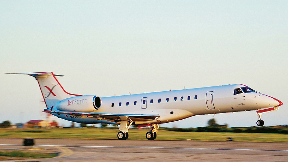 JetSuiteX has been able to purchase its Embraer 135 planes at a discount for flights from Burbank, Calif., to Concord, Calif., and Las Vegas as well as a San Jose, Calif.-Bozeman, Mont., route.