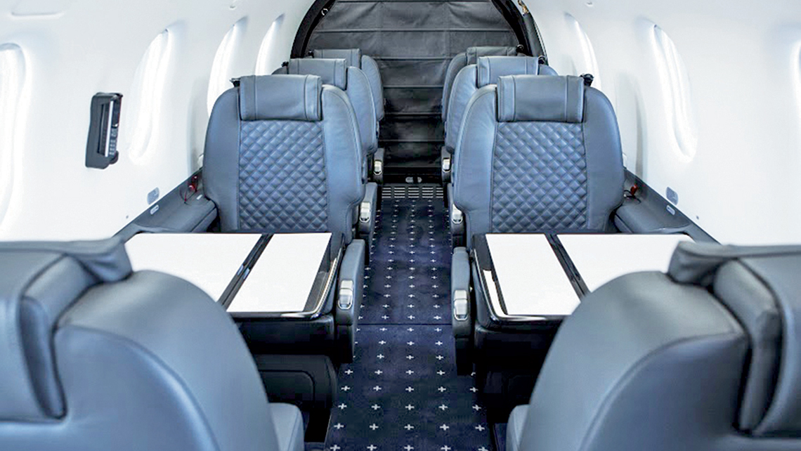 The interior of a Surf Air plane for intra-California flights.