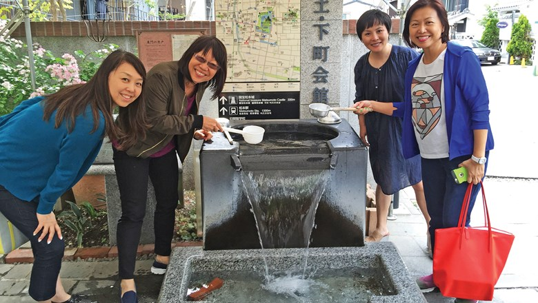 In Matsumoto, Japan, from left, Aya Aso, Agora Hospitalities, Japan; the writer; Melissa Yang, Tujia, China; and Diana Teo, D Ventures, Singapore.