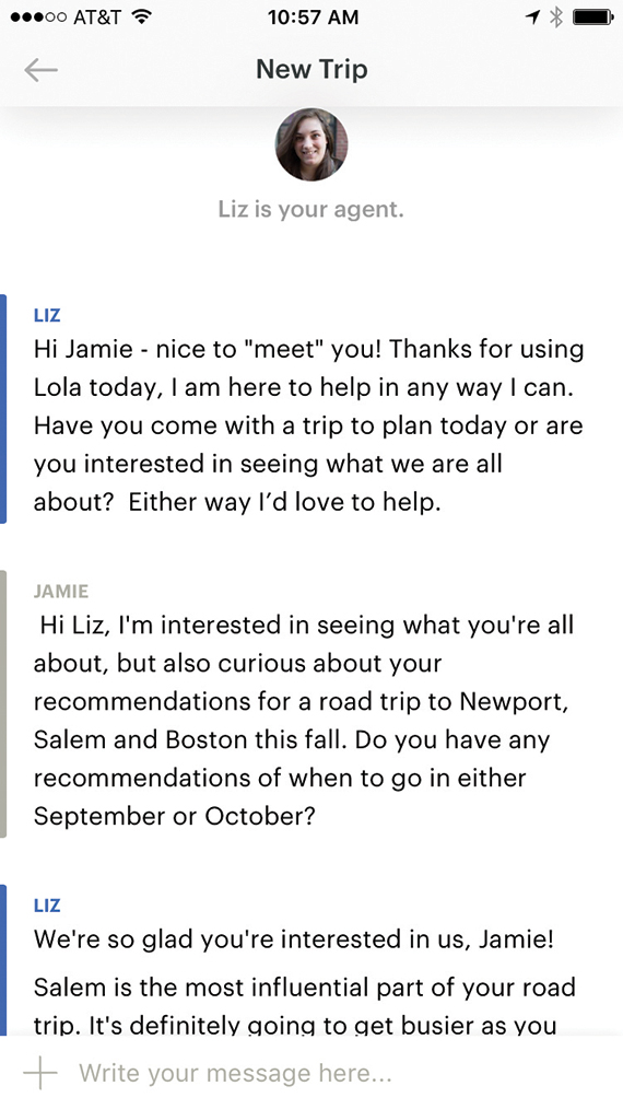 Travel Weekly senior editor Jamie Biesiada tried a few A.I.-enabled apps for this report. Lola enables users to chat with travel agents, whose knowledge is augmented by artificial intelligence. She used it to plan a fall road trip to destinations in the Northeast.
