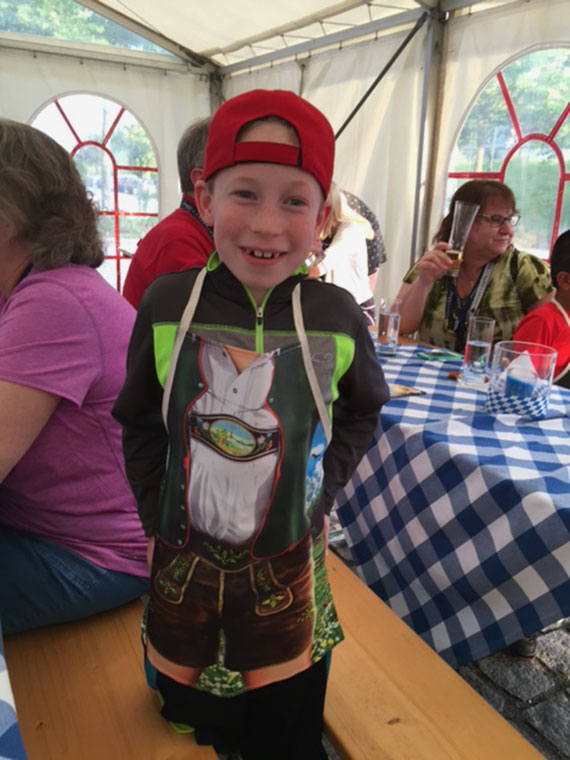 The writer's son wearing a lederhosen apron. Photo Credit: Paul Heney