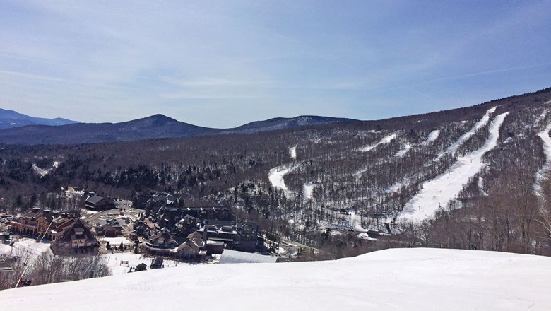 A view of the Spruce Peak base at Stowe Mountain Resort in Vermont.