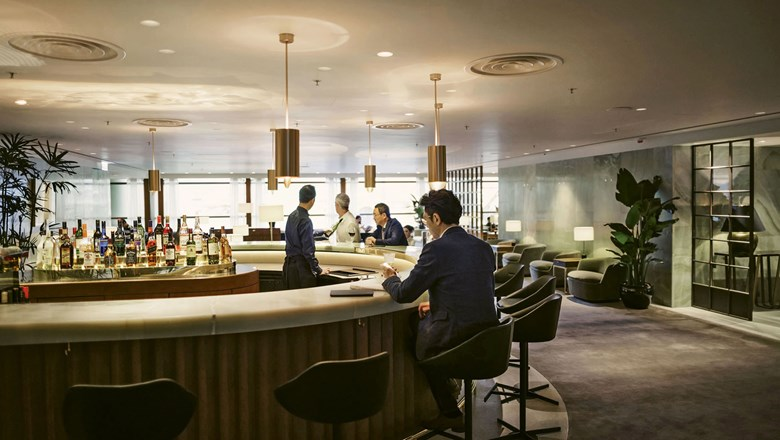 Cathay Pacific's business-class lounge in the Pier at Hong Kong Airport has a full-service bar among its amenities.